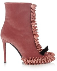 Hot Pink Velvet Ankle Boots
