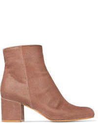 Gianvito Rossi Margaux 65 Velvet Ankle Boots Baby Pink