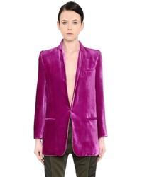 Hot Pink Velvet Blazer