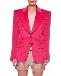 Tom Ford Cotton Velvet Two Button Jacket With Strong Shoulders