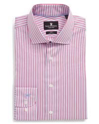 Hot Pink Vertical Striped Dress Shirt