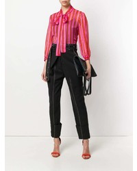 MSGM Pussy Bow Striped Blouse