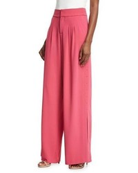 Alice + Olivia Shavon High Waist Wide Leg Side Slit Crepe Pants