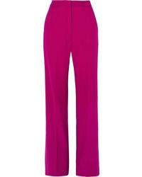 Lela Rose Wool Blend Crepe Wide Leg Pants