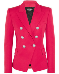 Balmain Double Breasted Wool Blazer Fuchsia