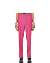 AMI Alexandre Mattiussi Pink Wool Straight Leg Trousers