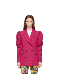 MSGM Pink Ruched Sleeve Blazer
