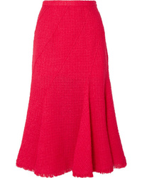 Oscar de la Renta Frayed Wool Blend Tweed Midi Skirt
