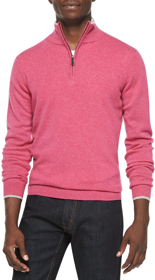 Neiman Marcus Cashmere Cloud Quarter Zip Sweater Pink | Where to ...