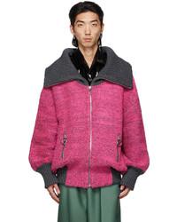 We11done Pink Grey Voluminous Pile Zip Up Sweater