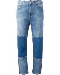 Jean à patchwork bleu Love Moschino