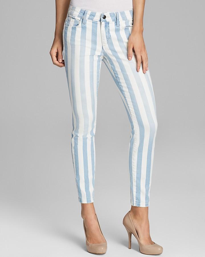 Jean skinny à rayures verticales blanc et bleu Joe's Jeans
