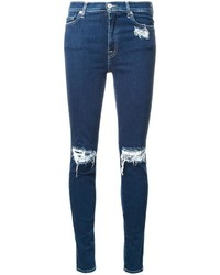 Jean skinny en coton déchiré bleu marine 7 For All Mankind