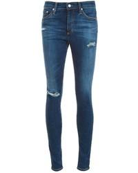Jean skinny en coton déchiré bleu marine AG Jeans