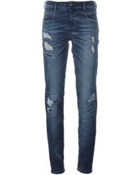 Jean skinny en coton déchiré bleu Diesel