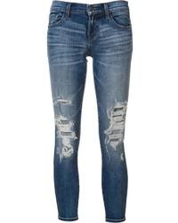Jean skinny en coton déchiré bleu J Brand