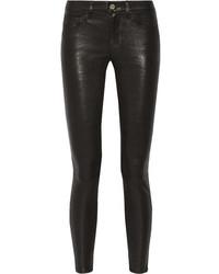 Jean skinny en cuir noir