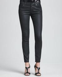 Jean skinny en cuir noir DKNY
