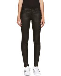 Jean skinny en cuir noir Frame