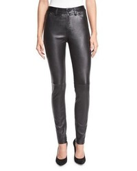 Jean skinny en cuir noir Neiman Marcus