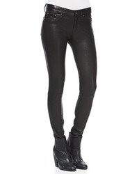 Jean skinny en cuir noir Rag and Bone