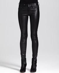 Jean skinny en cuir noir rag & bone/JEAN