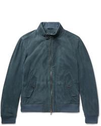 Jersey con cremallera en verde azulado de Hugo Boss