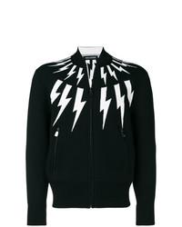 Jersey con cremallera estampado en negro y blanco de Neil Barrett