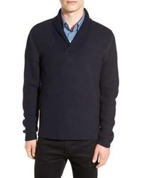 Jersey con cuello chal azul marino de BOSS