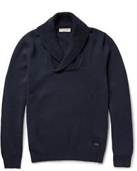 Jersey con cuello chal azul marino de Burberry