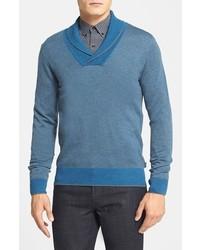 Jersey con cuello chal azul de Hugo Boss