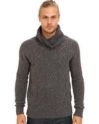 Jersey con cuello chal de punto en gris oscuro