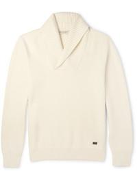 Jersey con cuello chal en beige de Burberry