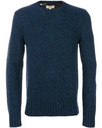Jersey con cuello circular a cuadros azul marino de Burberry