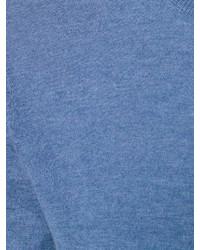 Jersey con cuello circular a cuadros azul de Burberry