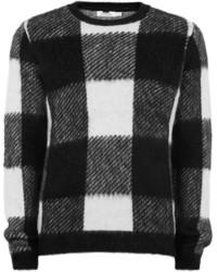 Jersey con cuello circular a cuadros en negro y blanco