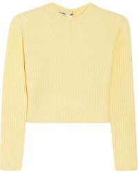 Jersey con cuello circular amarillo de Miu Miu