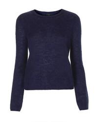 Jersey con cuello circular azul marino
