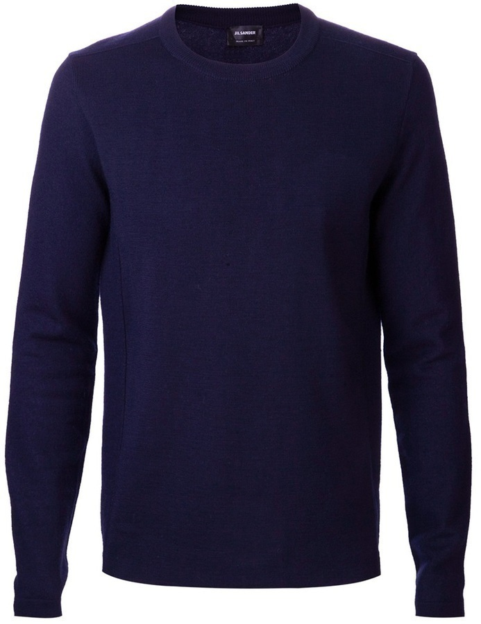 Jersey con cuello circular azul marino de Jil Sander