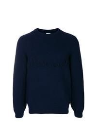 Jersey con cuello circular azul marino de Loewe