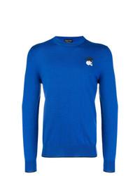 Jersey con cuello circular azul de Alexander McQueen