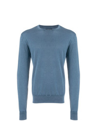 Jersey con cuello circular azul de Corneliani