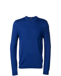 Jersey con cuello circular azul de Emporio Armani