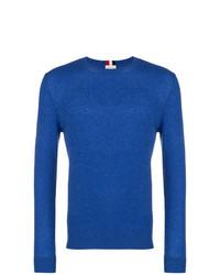 Jersey con cuello circular azul de Moncler