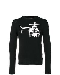 Jersey con cuello circular bordado en negro y blanco de Moncler