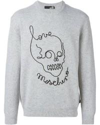 Jersey con cuello circular bordado gris de Love Moschino