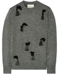 Jersey con cuello circular con adornos gris de 3.1 Phillip Lim