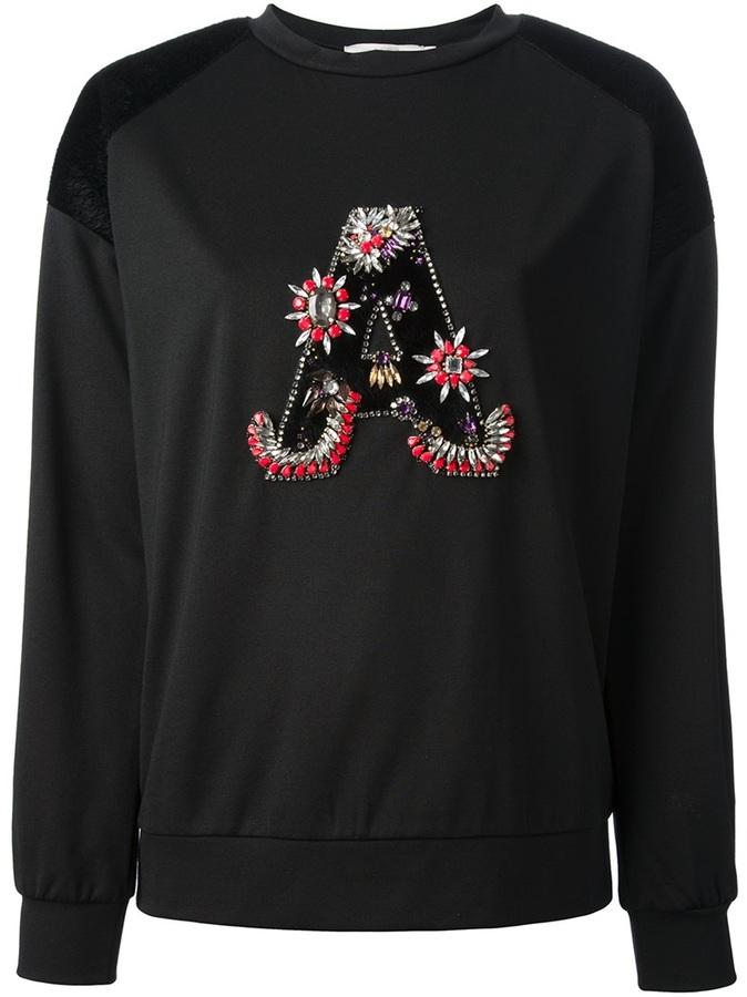 Jersey con cuello circular con adornos negro de Amen