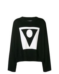 Jersey con cuello circular con estampado geométrico en negro y blanco de Maison Margiela
