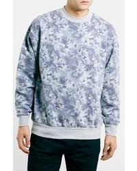 Jersey con cuello circular con print de flores celeste de Topman